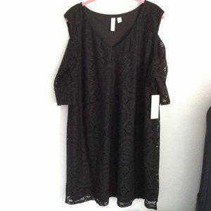 Tacera black 3x lace overlay dress